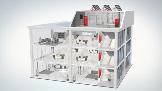 Système de chauffage bureaux avec chaudière gaz condensation