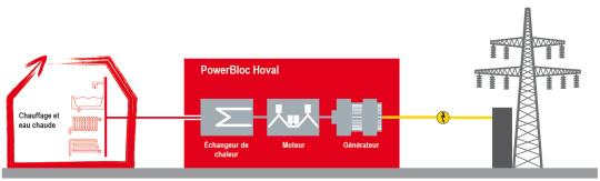 Principe de fonctionnement module cogénération gaz Hoval